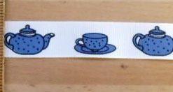 Ribbon 2cm Wide Vintage Blue Tea Pots