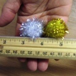 metallic pom pom 3cm gold and silver