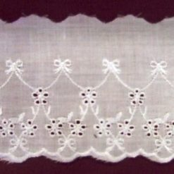White Dundee Broderie Anglais Flat Lace Trim