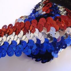 Red White and Blue Striped 3 Row Stretch Sequin