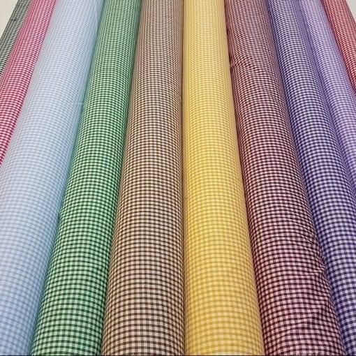 Gingham Fabric Polycotton