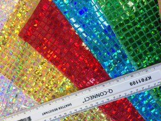 Lurex Jersey Hologram Fabric Squares Glass