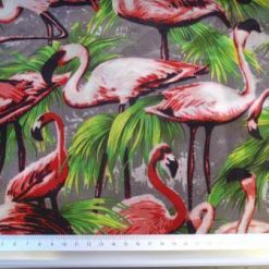 Satin Print Fabric Flamingo Festival