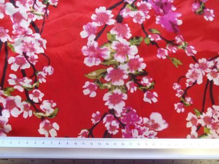 Satin Print Fabric Cherry Blossom