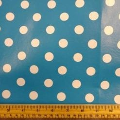 Turquoise Spotty PVC tabling fabric