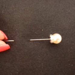 Hat Pin Ivory Pearl With Diamante Base B2119