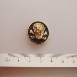 Skull And Crossbones Buttons Black/Gold 2cm Code 595
