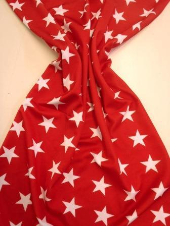 Lycra Patterned Fabric Star Struck red