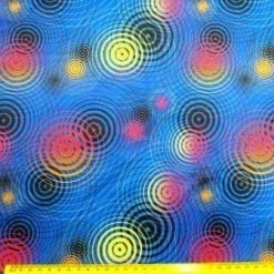 Lycra Patterned Fabric Bullseye Blue
