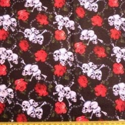 Lycra Patterned Fabric Skulls And Roses