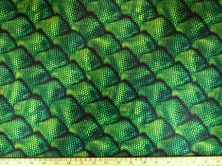Lycra Patterned Fabric Emerald Dragon Scales