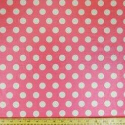 Pink Lycra Patterned Fabric Mini Mouse Spot