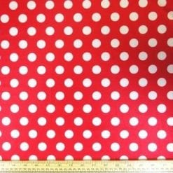 Red Lycra Patterned Fabric Mini Mouse Spot