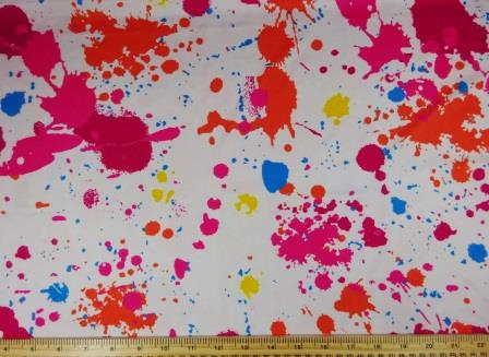 white Lycra Patterned Fabric Paint Splats