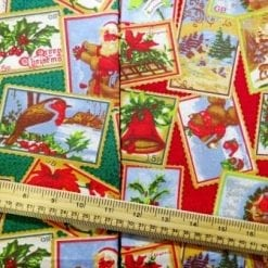 Christmas Cotton Fabric Christmas Postage Stamps