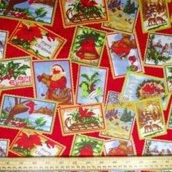Christmas Cotton Fabric Christmas Postage Stamps red