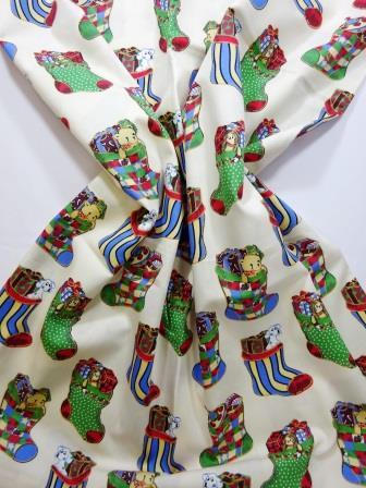 Cotton Fabric Christmas Stockings cream