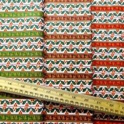 Christmas Cotton Fabric Regal Holly Stripe