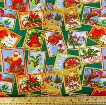 Christmas Postage Stamps Green