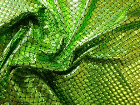 Lycra Fabric Metallic Foiling Lime Sardine Scales
