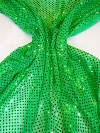 Sequin Jersey Fabric Pin Spot Lurex leprechaun green