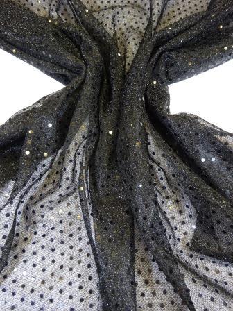Sequin Jersey Fabric Pin Spot Lurex black