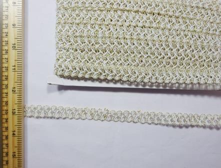 Trimming Metallic Twist Frog Braid white/gold
