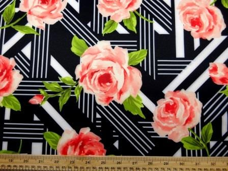 Scuba Jersey Fabric Rose Art Deco