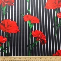 Scuba Jersey Fabric Stripe Carnation