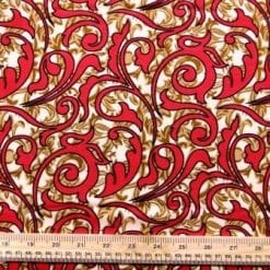 Viscose Fabric Aztec Amara khaki/red