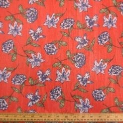 Chiffon Fabric Red Floral Fiesta Polyester