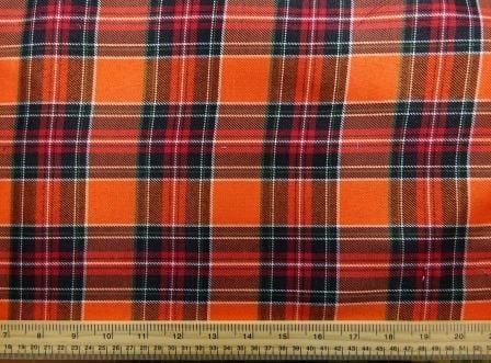 Polyester Tartan Scottish Suiting Fabric orange stewart