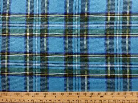 Polyester Tartan Scottish Suiting Fabric turquoise stewart