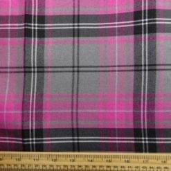 Polyester Tartan Scottish Suiting Fabric sindy cerise stewart