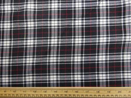 Polyester Tartan Scottish Suiting Fabric black stewart