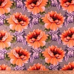 Cotton Fabric Caribbean Carnation coral