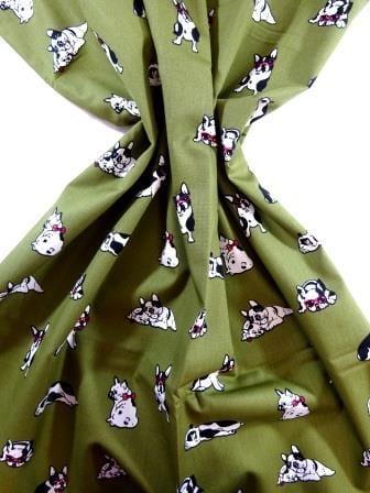 Cotton Fabric Print Puggy Dogs khaki