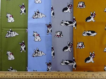 Cotton Fabric Print Puggy Dogs