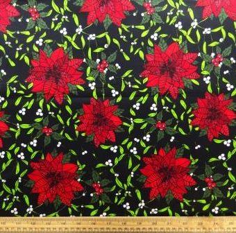 Mistletoe Poinsettias Black
