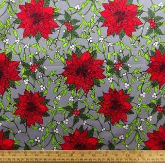 Mistletoe Poinsettias Grey