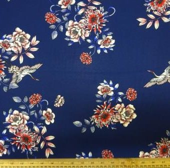 Floral Swallows Mid Navy Georgette