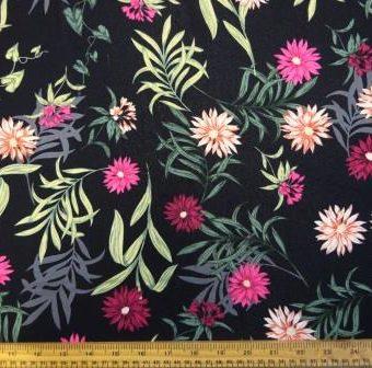 Chrysanthemum Flowers Black/Pink Georgette