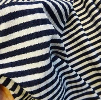 Navy Stripey Riblets T-Shirting