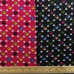 Printed Corduroy Fabric - Mini Paws Design