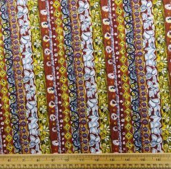 Deli Floral Stripe Mustard/Rust