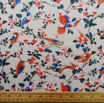 Floral Flirty Finches Cream