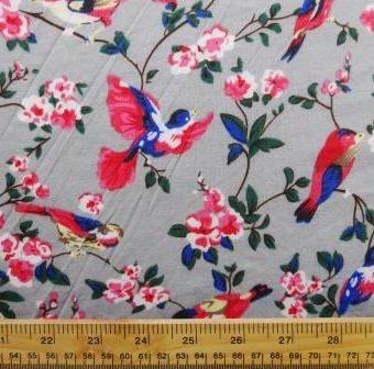 Floral Flirty Finches Grey