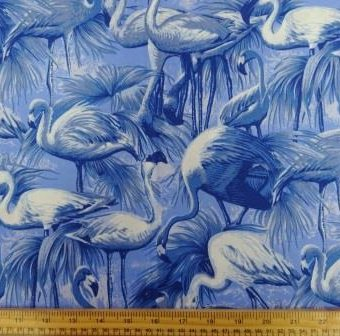 Monochrome Flamingos Blue